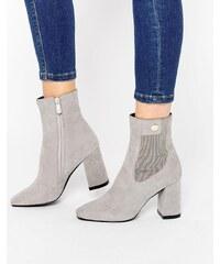 Public Desire - Trisha - Graue Ankle-Boots mit goldener Verzierung - Grau