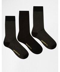 Saville Row Savile Row - Lot de 3 paires de chaussettes - Gris