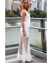001 Dámské šaty dlouhé průsvitné