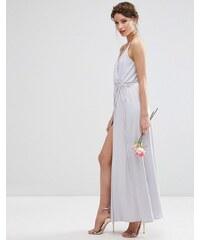 ASOS Wedding - Robe portefeuille à bretelles longue en crêpe - Gris