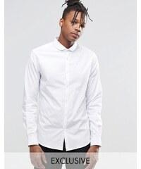 Noak - Schmal geschnittenes Hemd mit kleinem, abgerundetem Kragen - Weiß