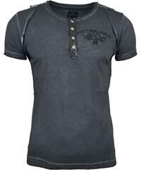 Pánské antracitové tričko RUSTY NEAL s knoflíky