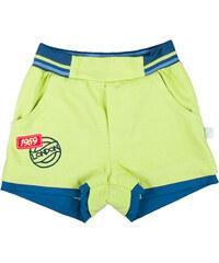 MMDadak Chlapecké šortky s nášivkou Fest Drive - zelenožluté