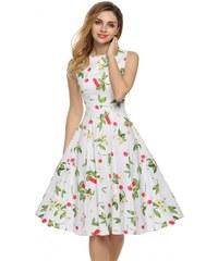 002 Dámské retro šaty třešně bílé