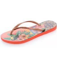 Oranžové květované pantofle Havaianas Tropical