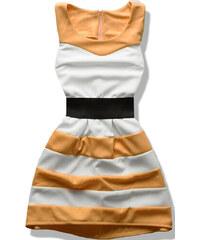 Kleid weiß/senf 6387