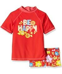 """Aquatinto Mädchen Badeshirt und -hose mit """"Be Happy & Blumen""""-Print, UV +50"""
