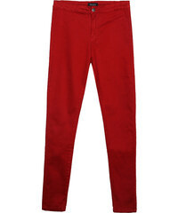 Lesara High Waist-Jeans Unifarben - Dunkelrot - 36