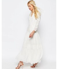 ASOS - Robe longue avec empiècements en dentelle et crochet - Blanc