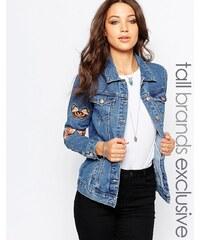 Glamorous Tall - Jeansjacke mit Schmetterlings- und Blumenstickerei - Blau