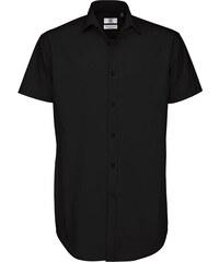 Pánská popelínová košile Elastane - Černá S