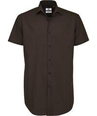 Pánská popelínová košile Elastane - Hnědá S