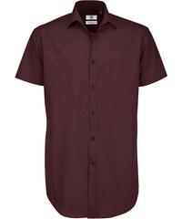 Pánská popelínová košile Elastane - Červenofialová S