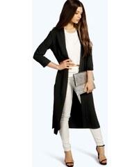 BOOHOO Dlouhý lehký černý kabát Isabella