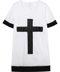 Lesara T-Shirt-Kleid mit Kreuz-Motiv in Leder-Optik - Weiß - S