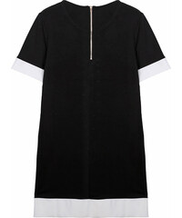 Lesara T-Shirt-Kleid mit Kreuz-Motiv in Leder-Optik - Schwarz - S