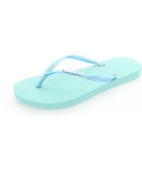 Světle modré pantofle Havaianas Slim Logo Metallic