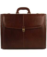 Attache kožený kufr Gong 7999 - hnědá