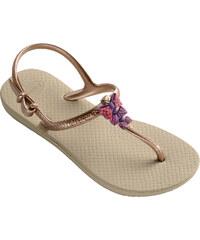 Havaianas Sandale Tongs Sandales Beiges Et Dorées Pour Fille Avec Noeuds - Kids Freedom Sand Grey/rose Gold