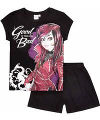 Disney Descendants Shorty-Pyjama schwarz in Größe 140 für Mädchen aus 100% Baumwolle