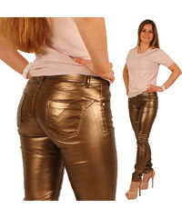 Lesara Skinny-Hose im Metallic-Look - Gold - 34