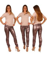 Lesara Skinny-Hose im Metallic-Look - Bronze - 36