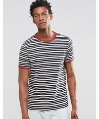ASOS - T-shirt à bordures contrastantes et rayures rétro - Bleu marine