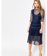 Body Frock - Louisa - Robe gainante avec jupe plissée et dentelle - Bleu marine
