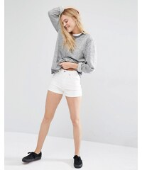 Weekday - New Day - Short taille haute à revers - Blanc