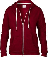 Dámská mikina Fashion s kapucí - Vínově červená S