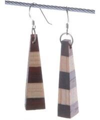 Dřevěné dvoubarevné náušnice jehlany