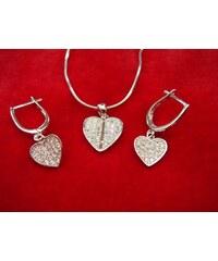 Stříbrná sada zirkonová sklápěná srdce
