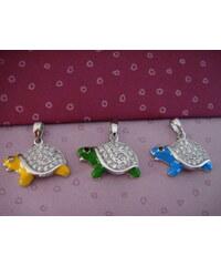 Stříbrný přívěsek Želvička žlutá, modrá