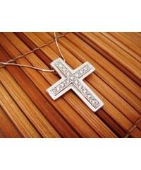 Masivný stříbrný zirkonový kříž