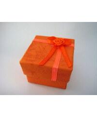 Papírová dárková krabička s růžičkou oranžová