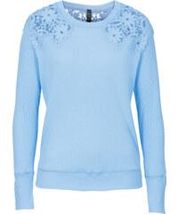 RAINBOW Top à dentelle crochet bleu manches longues femme - bonprix