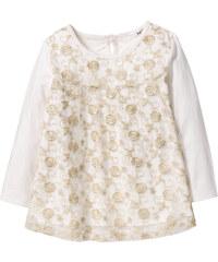 bpc bonprix collection T-shirt manches longues à dentelle et paillettes, T. 80/86-128/134 blanc enfant - bonprix