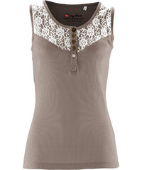bpc bonprix collection Top à dentelle marron sans manches femme - bonprix