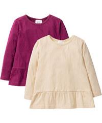 bpc bonprix collection Lot de 2 T-shirts manches longues avec volant, T. 80/86-128/134 orange enfant - bonprix