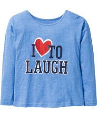bpc bonprix collection T-shirt à manches longues avec imprimé, T. 116/122-164/170 bleu enfant - bonprix