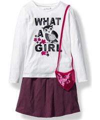 bpc bonprix collection T-shirt, jupe et petit sac violet manches courtes enfant - bonprix