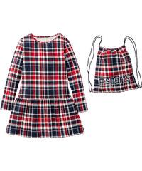 bpc bonprix collection Kariertes Kleid + Turnbeutel, Gr. 116-170 langarm in blau für Mädchen von bonprix