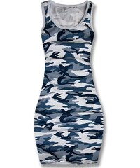 Modré maxi army šaty 3871