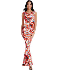 Goddess Bílo-červené květované šaty Kasablanka
