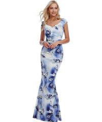 Goddess Bílo-modré květované šaty Thalia