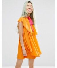 ASOS - Hochgeschlossenes Minikleid mit Rüschen - Orange