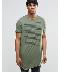 ASOS - T-shirt ultra long rayé sur la poitrine avec encolure dégagée et bords bruts - Vert