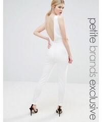 John Zack Petite - Overall mit Netzeinsatz und tiefem Rückenausschnitt - Weiß