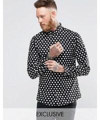 Noose & Monkey - Chemise à imprimé cœur sur l'ensemble - Noir