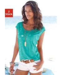 Beachtime Damen T-Shirts (2 Stück) mit transparenten Sternen grün 32/34,36/38,40/42,44/46,48/50
